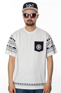 GANJA MAFIA T-SHIRT MANDALA POCKET WHITE