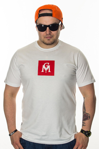 GANJA MAFIA T-SHIRT GM BOX LOGO WHITE-RED