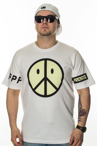 PROSTO T-SHIRT PEACE ACID WHITE