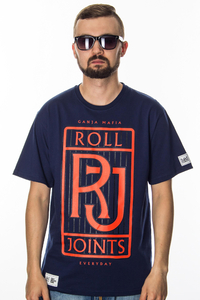 GANJA MAFIA T-SHIRT ROLL JOINTS NAVY