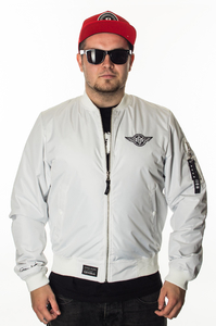 GANJA MAFIA KURTKA BOMBER GENERAL WHITE-BLACK