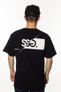 SMOKE STORY GROUP T-SHIRT FRONT BACK CUT LOGO BLACK
