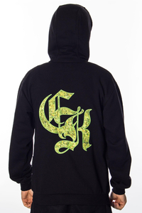 GANJA MAFIA BLUZA ZIP CANNABIS KING BLACK GREEN