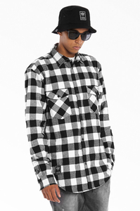 LUCKY DICE KOSZULA FLANNEL SHIRT BLACK-WHITE