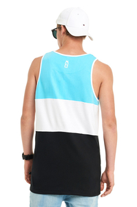 LUCKY DICE TANKTOP CUT COLOR TURQUOISE-BLACK