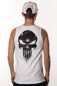 GANJA MAFIA TANK TOP CANNABISHER WHITE BLACK