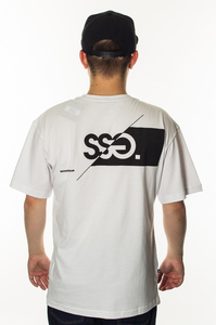 SMOKE STORY GROUP T-SHIRT FRONT BACK CUT LOGO WHITE