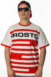 PROSTO T-SHIRT DARK STRIPES WHITE