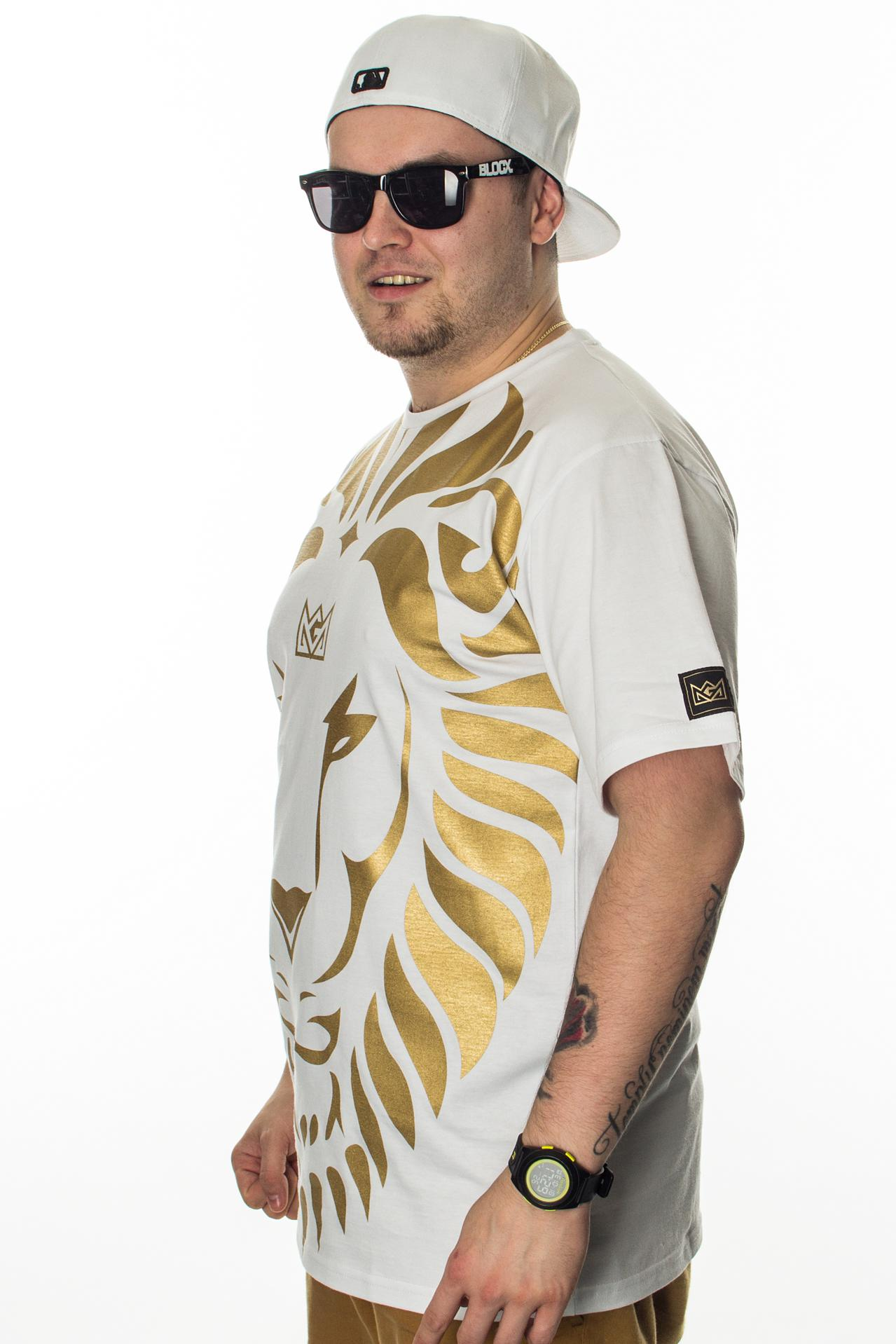 GANJA MAFIA T-SHIRT KA'LION BIG WHITE-GOLD