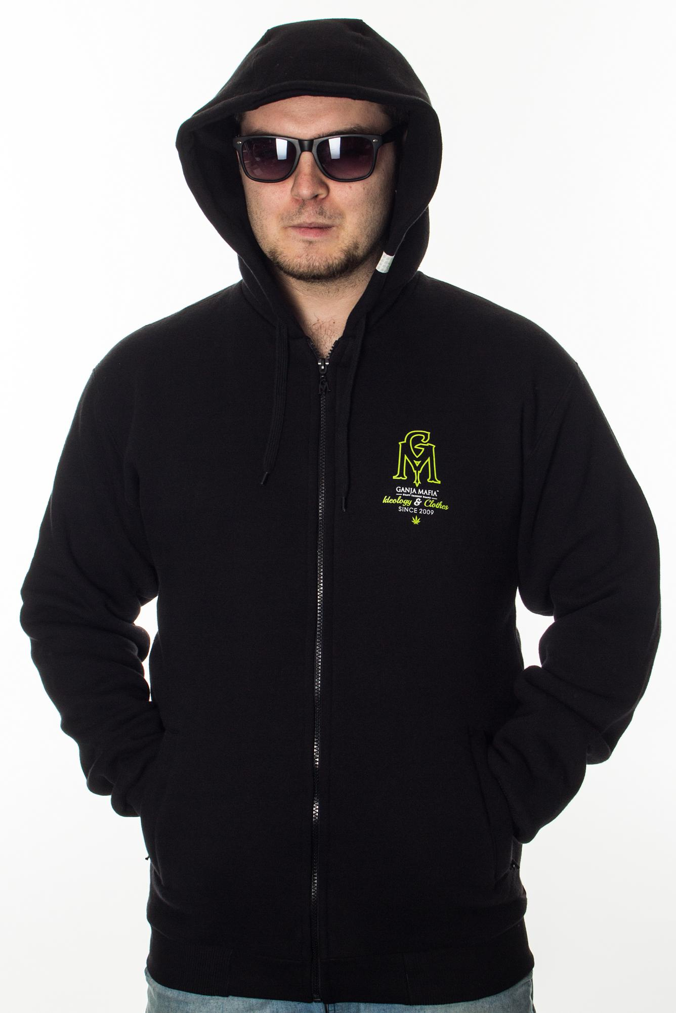 GANJA MAFIA BLUZA ZIP HERB BLACK-GREEN