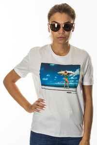 PROSTO T-SHIRT DAMSKI JDL ONE FISH WHITE