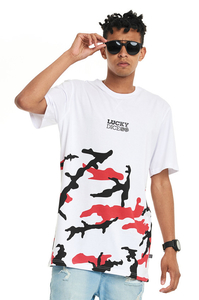LUCKY DICE T-SHIRT URBAN CAMO WHITE-RED