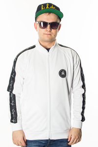 GANJA MAFIA BLUZA FULL ZIP PODPIS STRIPE WHITE/BLACK