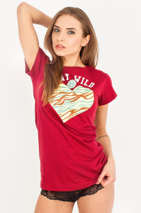 EP.GIRLS T-SHIRT STAY WILD BORDO