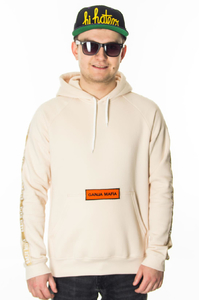 GANJA MAFIA BLUZA Z KAPTUREM BOX LOGO STRIPE BEIGE/ORANGE