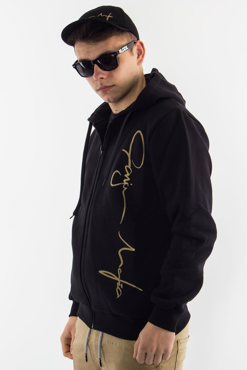 GANJA MAFIA BLUZA KAPTUR ZIP BIG GOLD BLACK